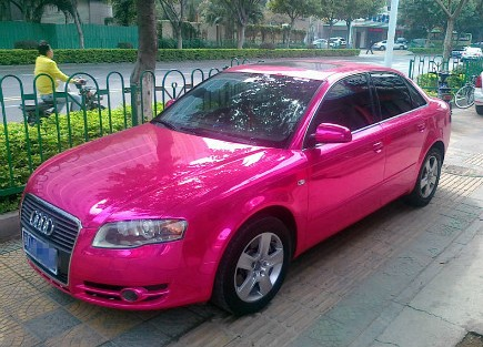 Audi A4 Wheels >> Audi A4 Gets Ostentatious Pink Chrome Wrap and Bubble-Wrap Rear Lights in China - autoevolution