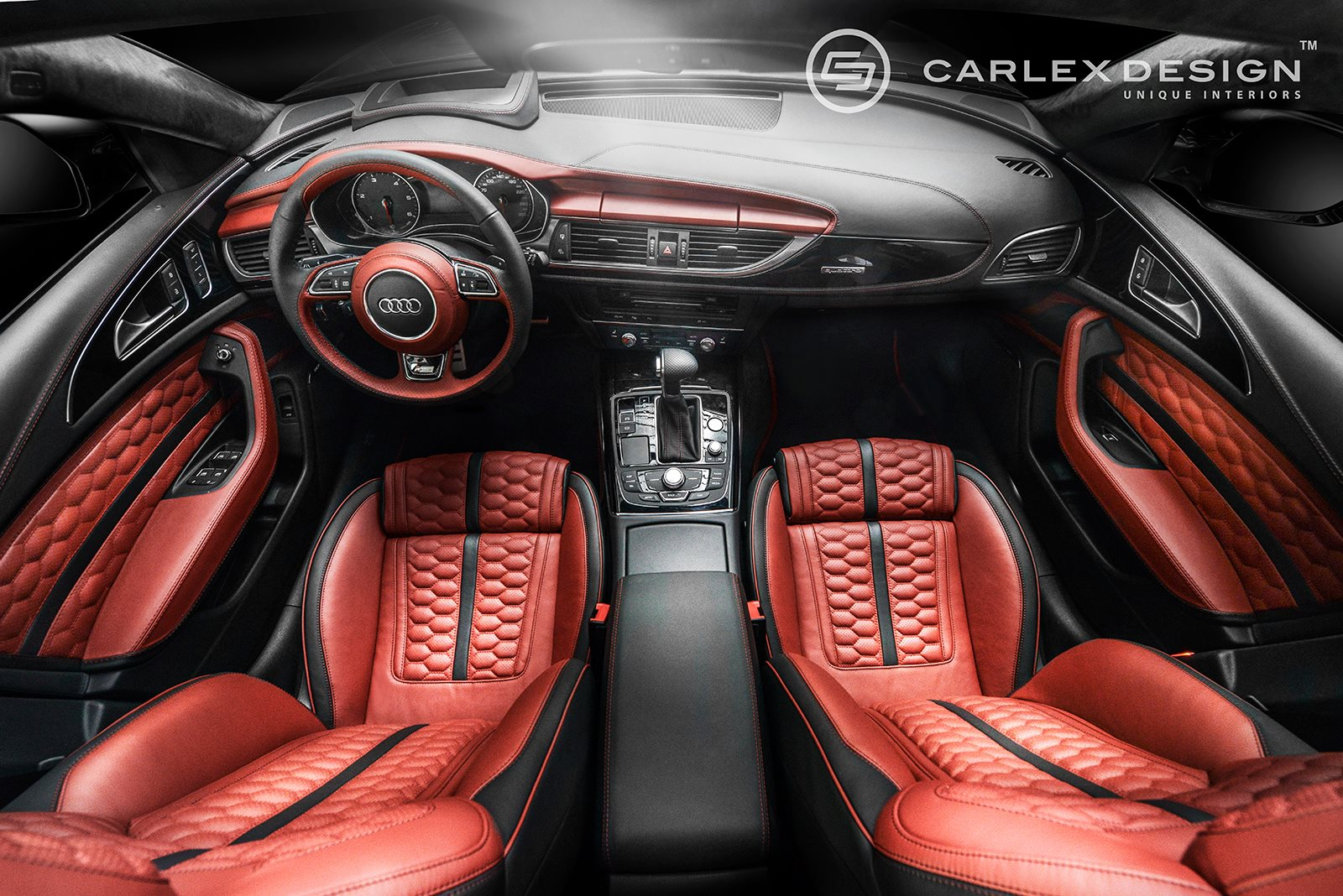 Audi A6 Gets Red Honeycomb Interior From Carlex Design