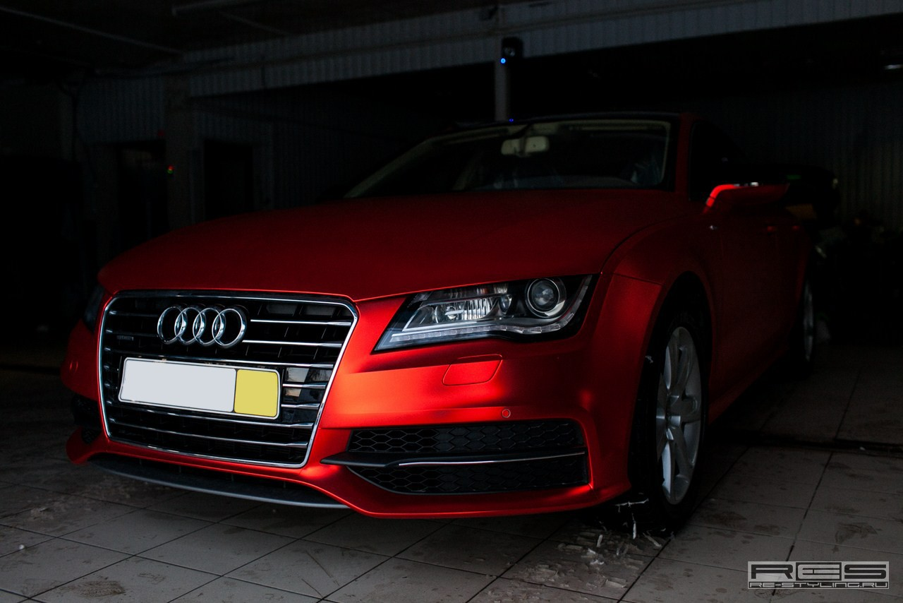 Audi A7 Wrapped In Red Satin Chrome Autoevolution
