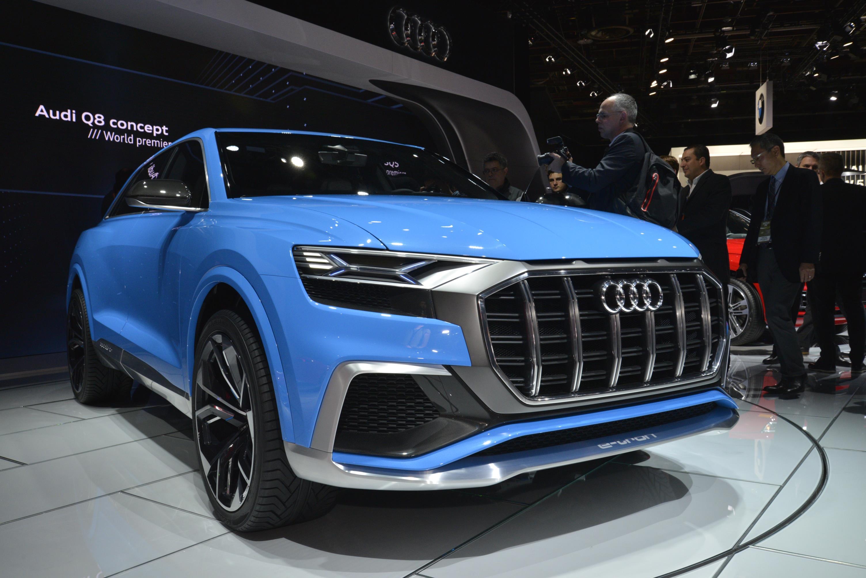 audi q8 concept s bombay blue paint brightens detroit