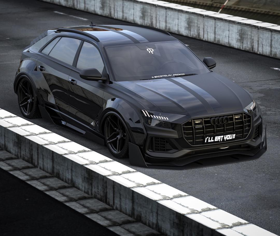 audi q8 slammed in virtual tuning looks like a racing suv. Black Bedroom Furniture Sets. Home Design Ideas