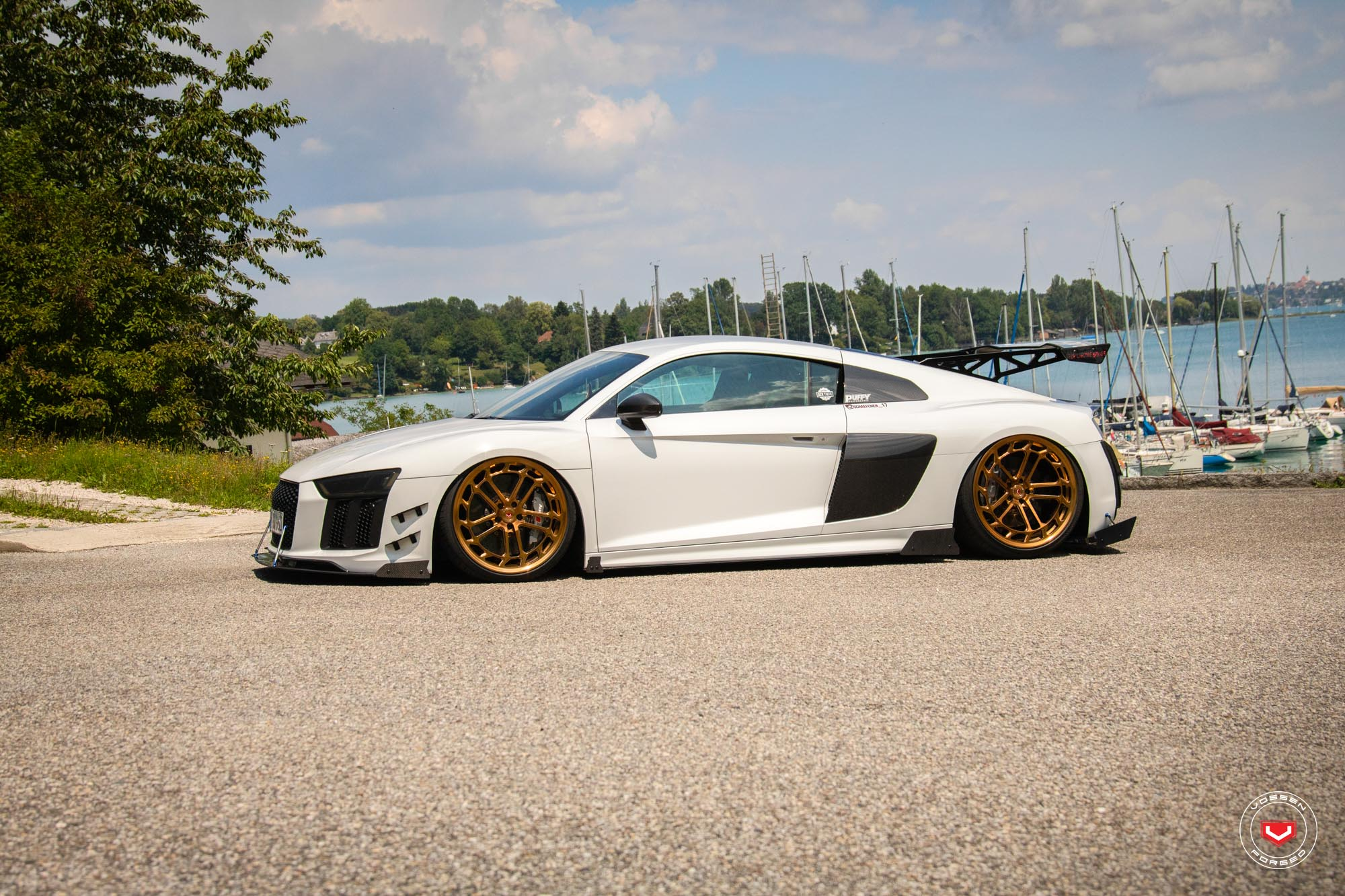 Audi R8 Gets Vossen Lc2 C1 Gold Wheels And Racing Body Kit