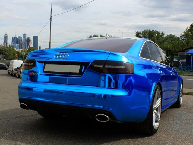 Audi Rs6 Blue Chrome Wrap From Russia Autoevolution