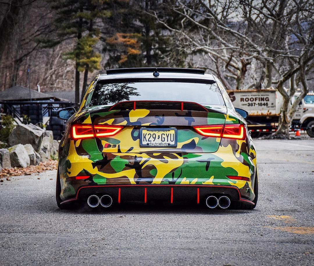 Audi S3 Sedan With Camo Wrap And Radi8 Wheels Looks Ready For