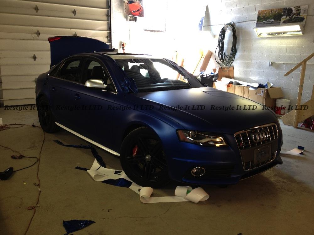 Audi S4 Wrapped in Matte Metallic Blue - autoevolution