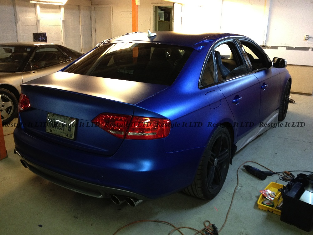 White Honda Civic >> Audi S4 Wrapped in Matte Metallic Blue - autoevolution