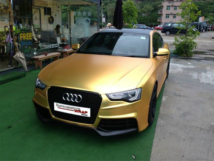 Audi S5 Sportback Wrapped In Gold In Hong Kong Video