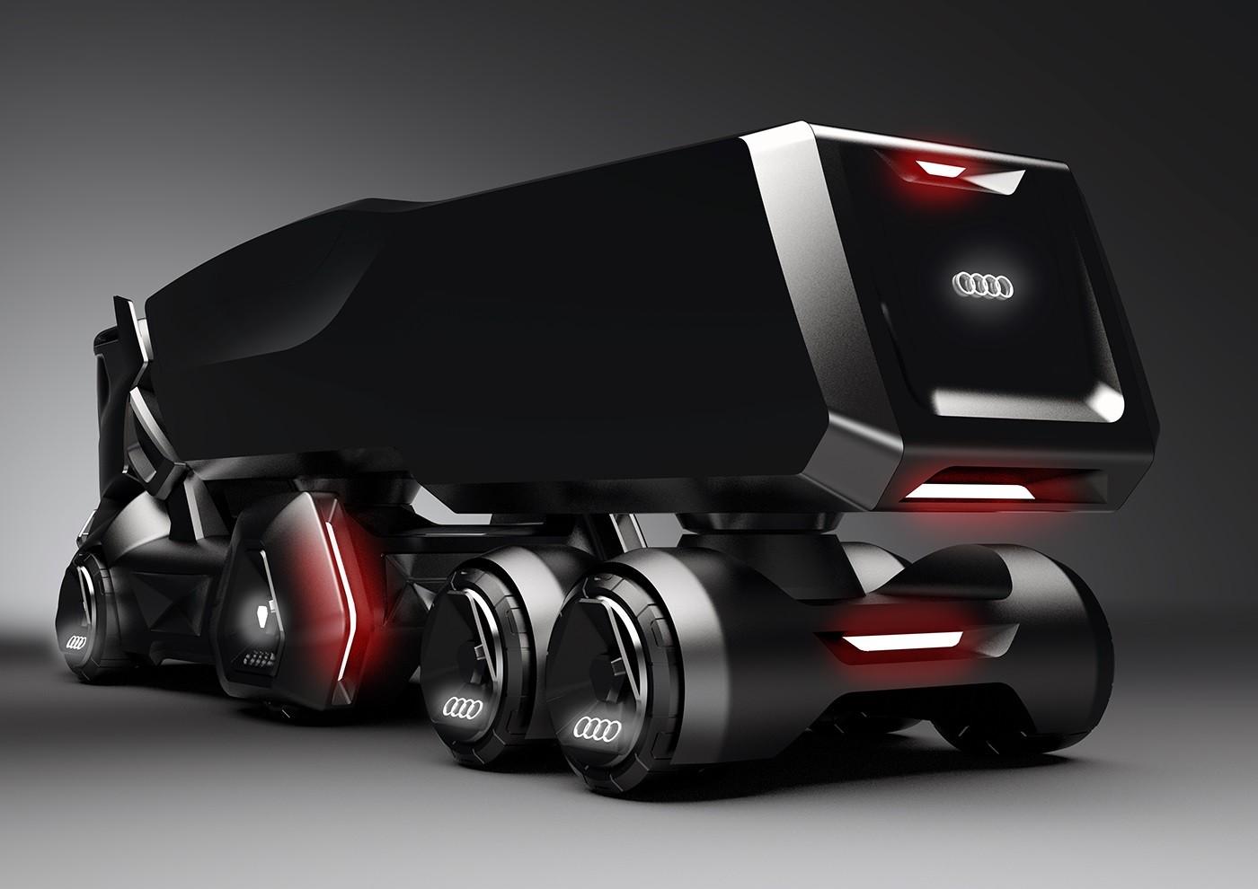 Custom Truck Headlights >> Audi-Themed HMV Concept Makes the Tesla Semi Look Obsolete - autoevolution