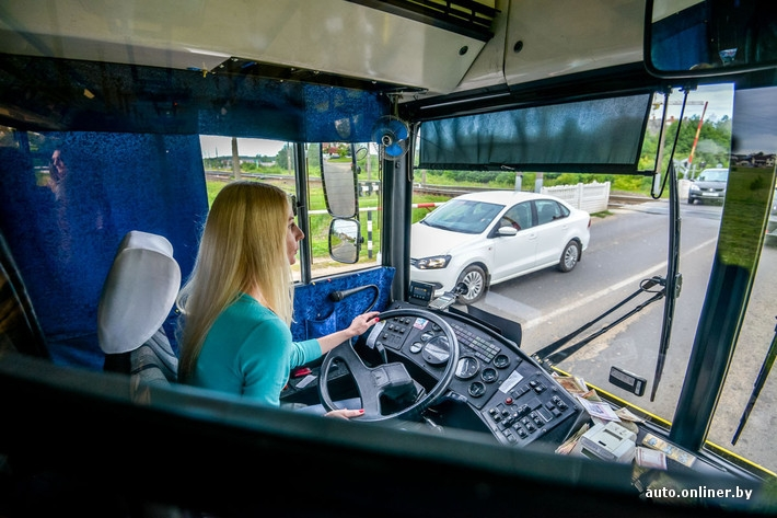 Beautiful Blonde Woman Is A Bus Driver In Belarus