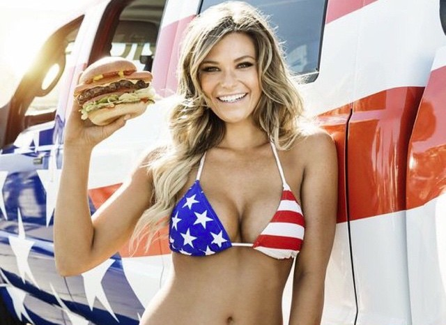Bikini Model Samantha Hoopes Eats Huge Burger In Hot Tub