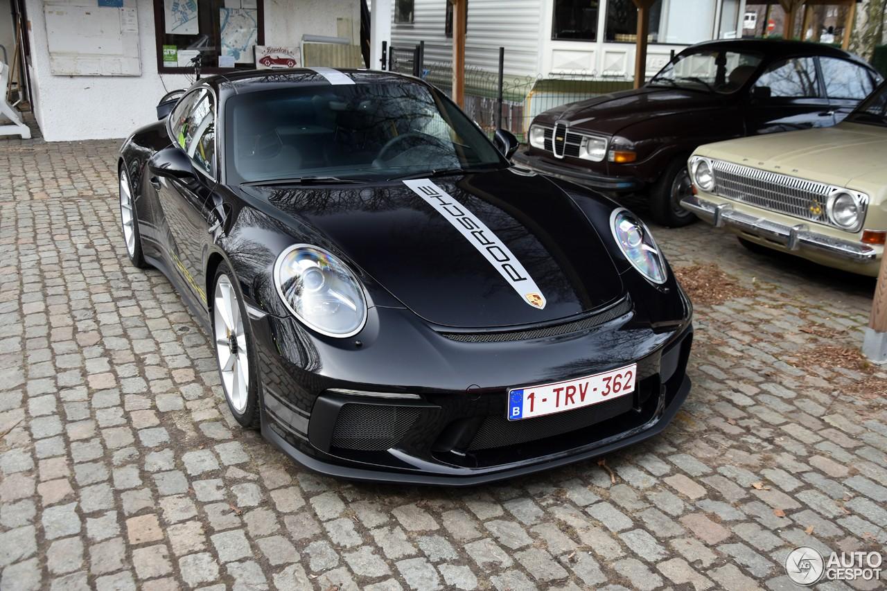 Black 2018 Porsche 911 GT3 Touring Package Shows Sleek Stripe