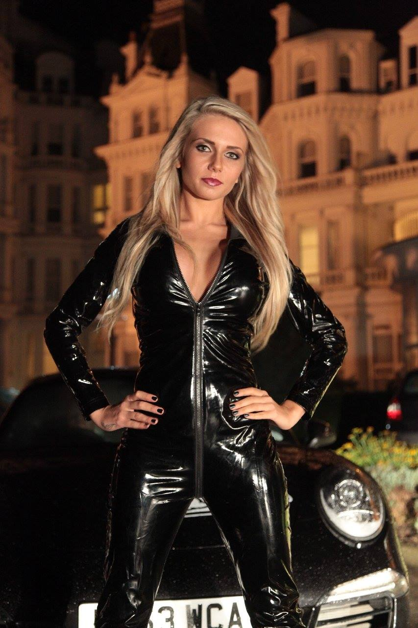 Black Leather Clad Hotties Promote Supercar Rally