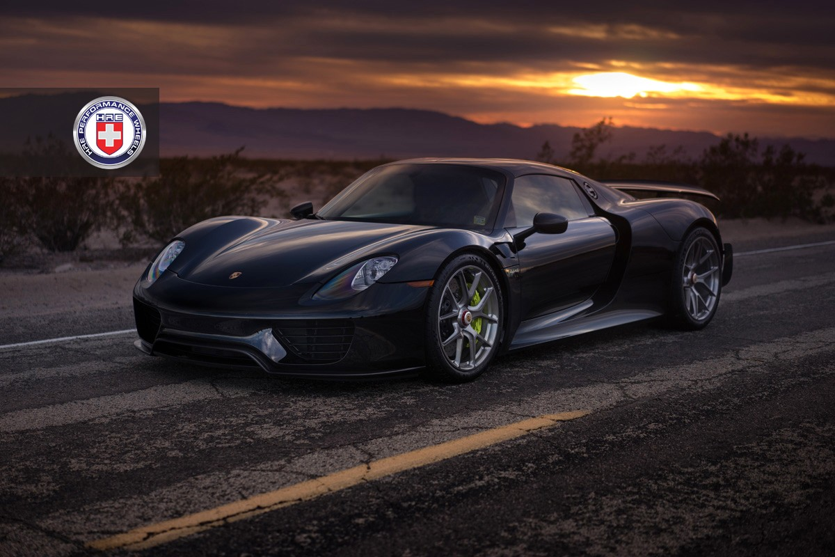 porsche 918 spyder black wallpaper. black porsche 918 spyder with weissach pack gets hre wheels wallpaper c