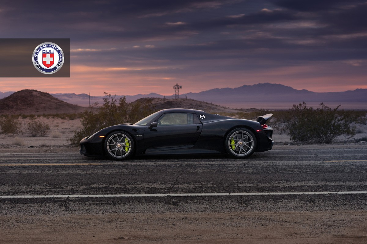 black porsche 918 spyder with weissach pack gets hre wheels