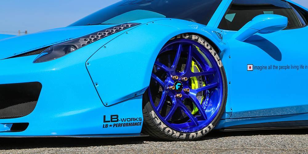 blue liberty walk ferrari 458 on forgiato wheels