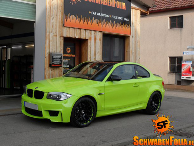 Bmw 1m Gets Stunning Lime Green Wrap Autoevolution
