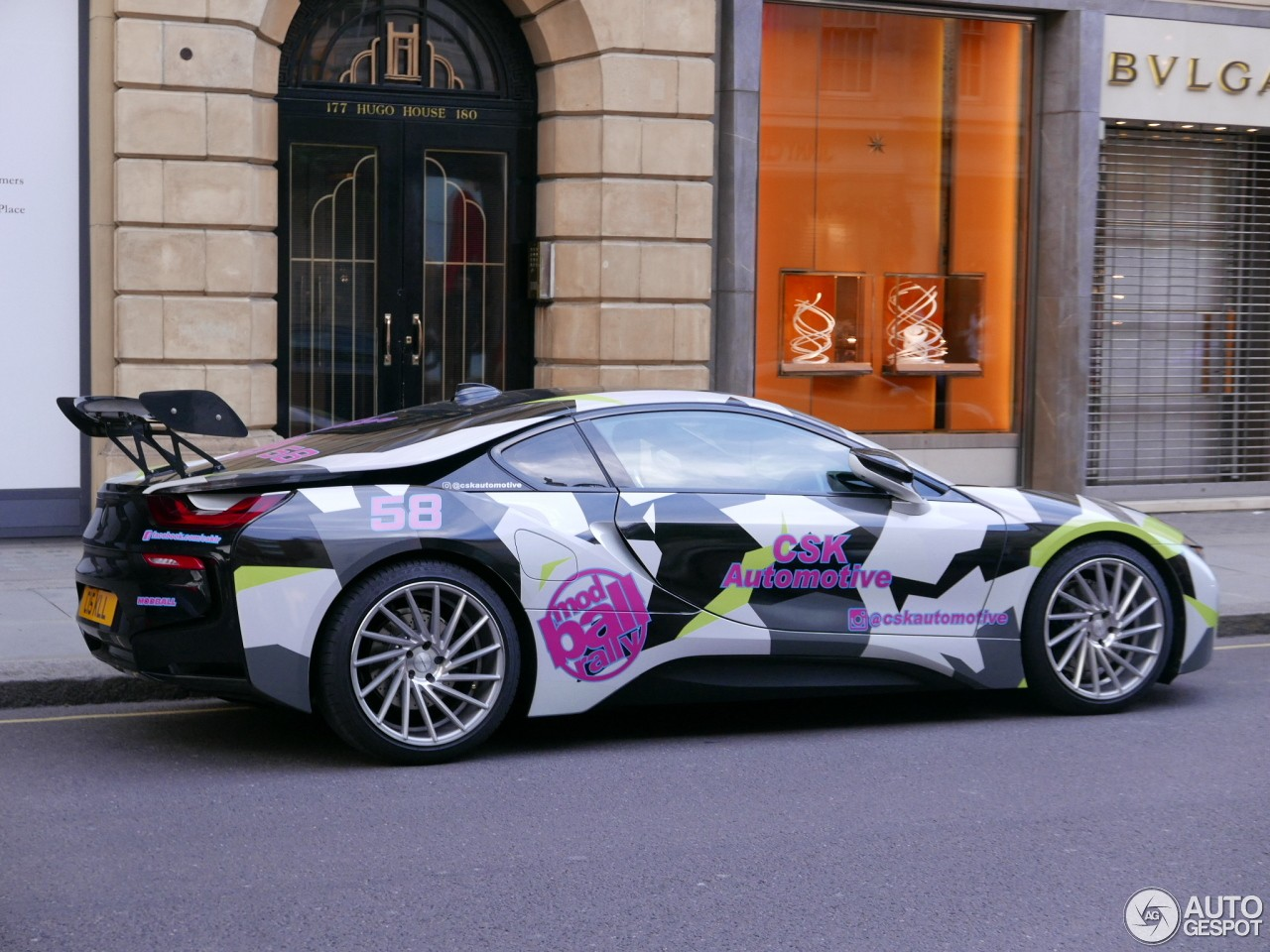 Bmw I8 With Monstrous Rear Wing Stands Out In London Has Wacky Camo
