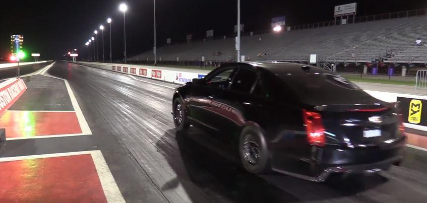 Boosted Cadillac Cts V Goes Drag Racing Beats Dodge Demon