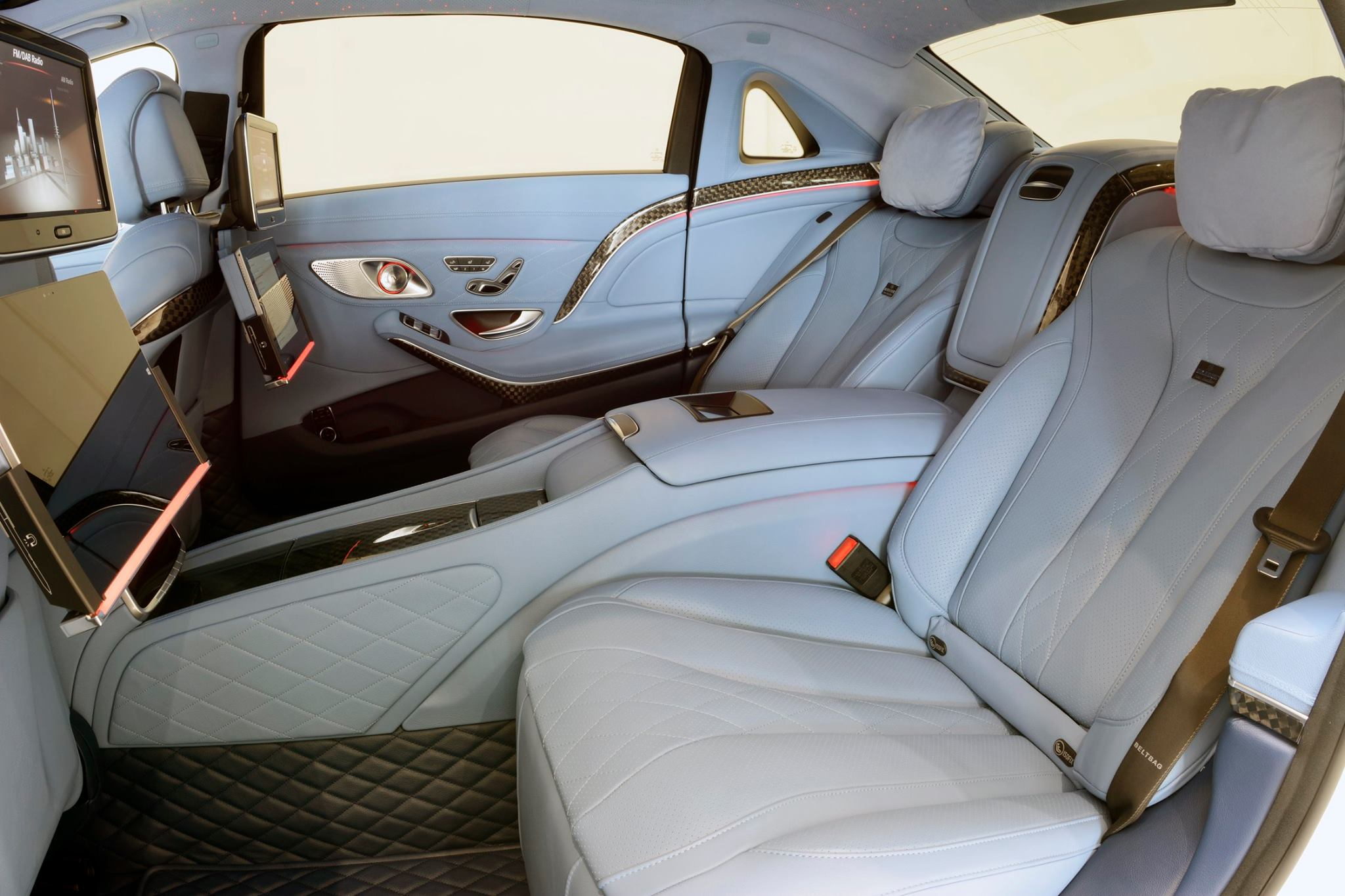 maybach s600 turns into brabus rocket 900 with blue leather