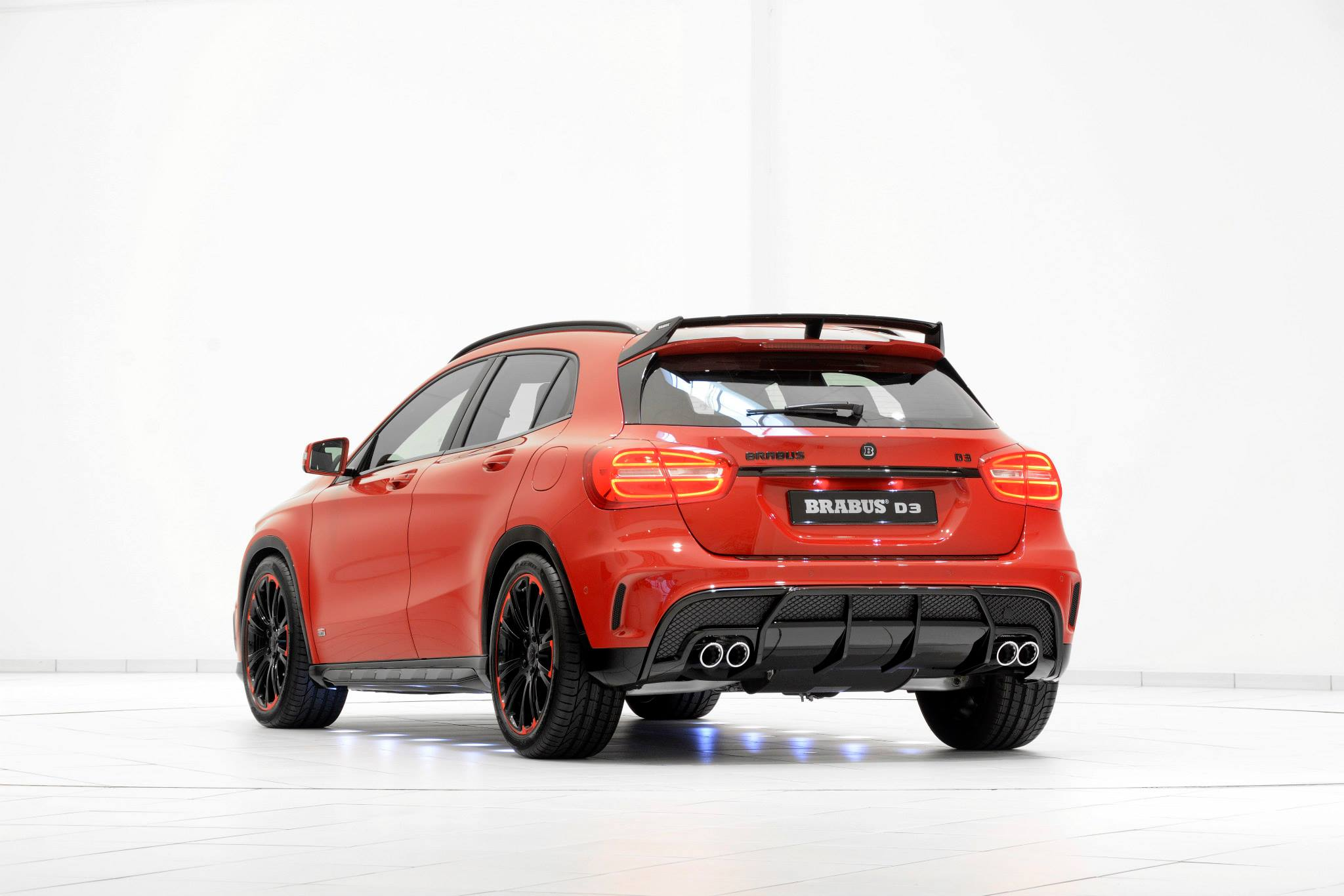 mercedes gla tuned by brabus looks stunning in red and black gets diesel power boost. Black Bedroom Furniture Sets. Home Design Ideas