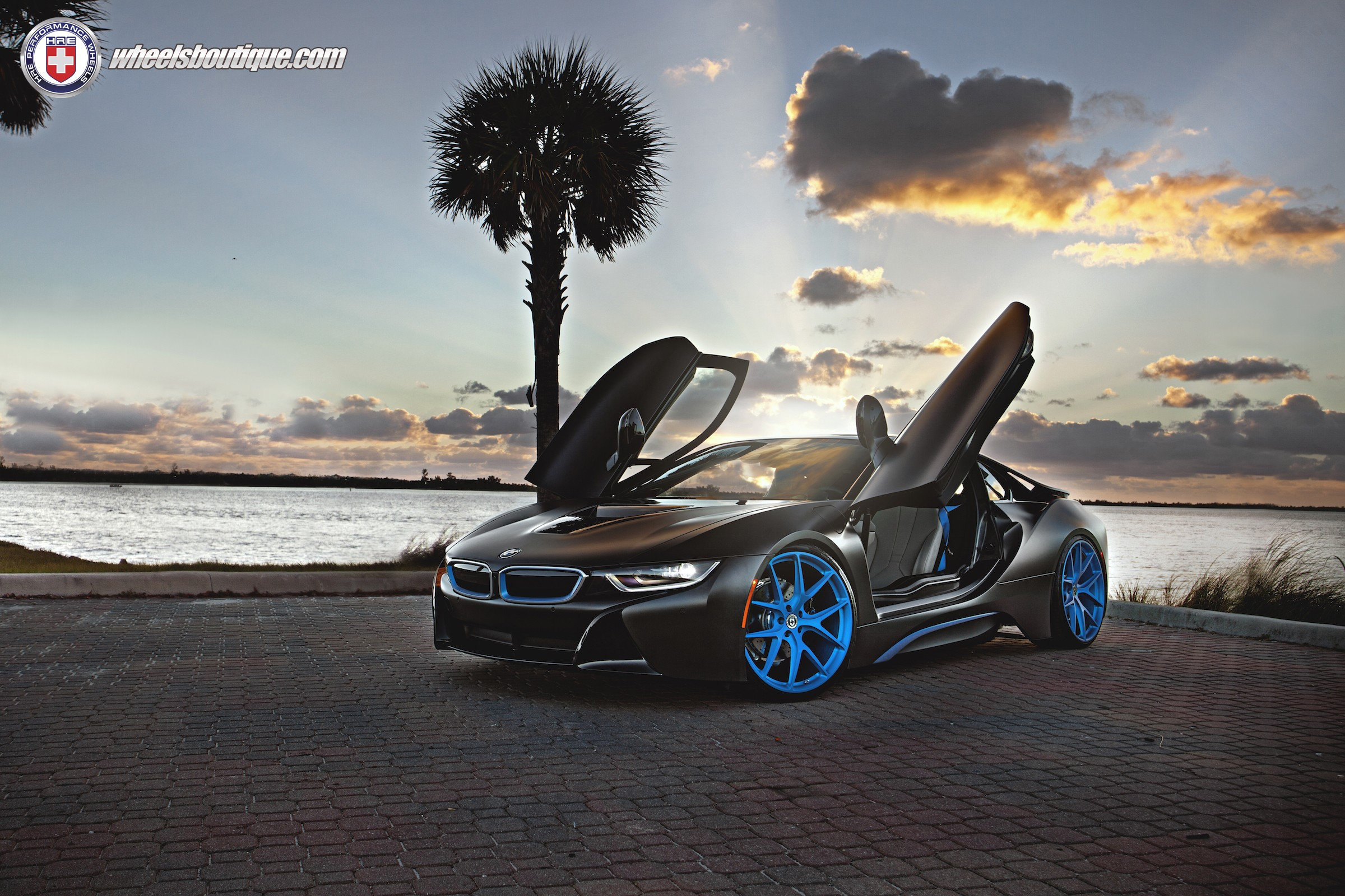 ... Matte Black Bmw I8 On Frozen Blue HRE P101 Wheels