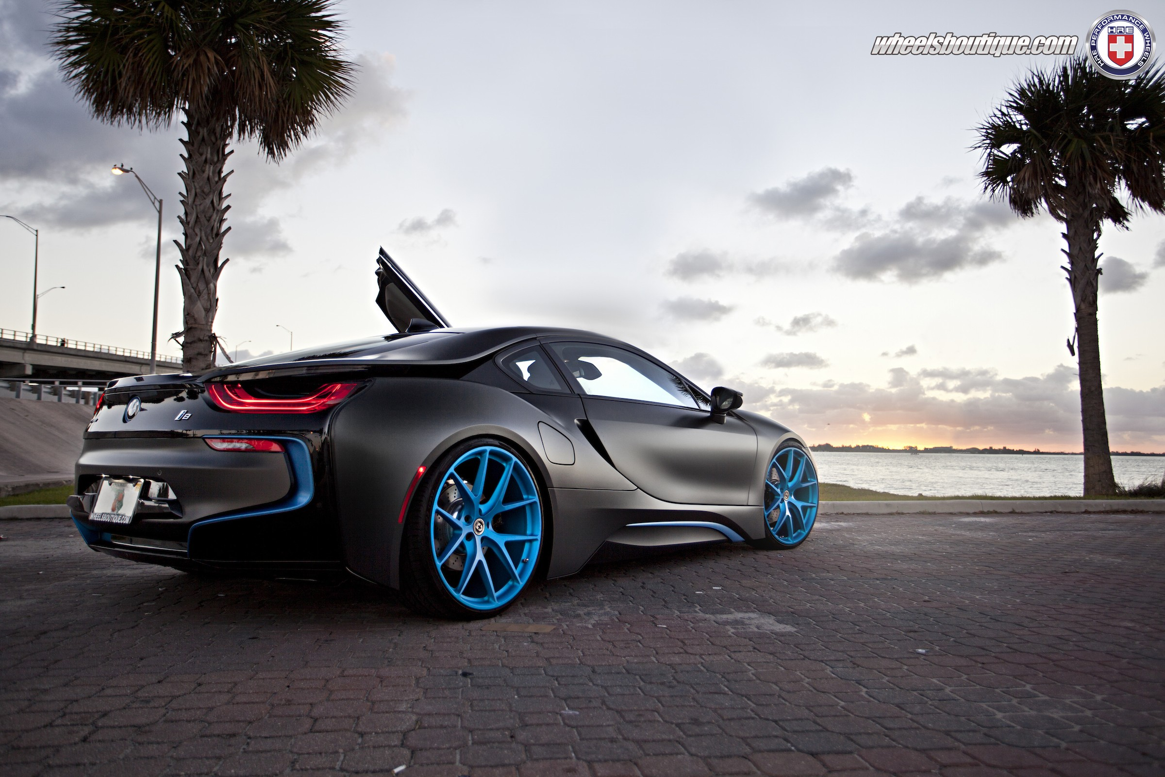Matte Black Bmw I8 On Frozen Blue HRE P101 Wheels