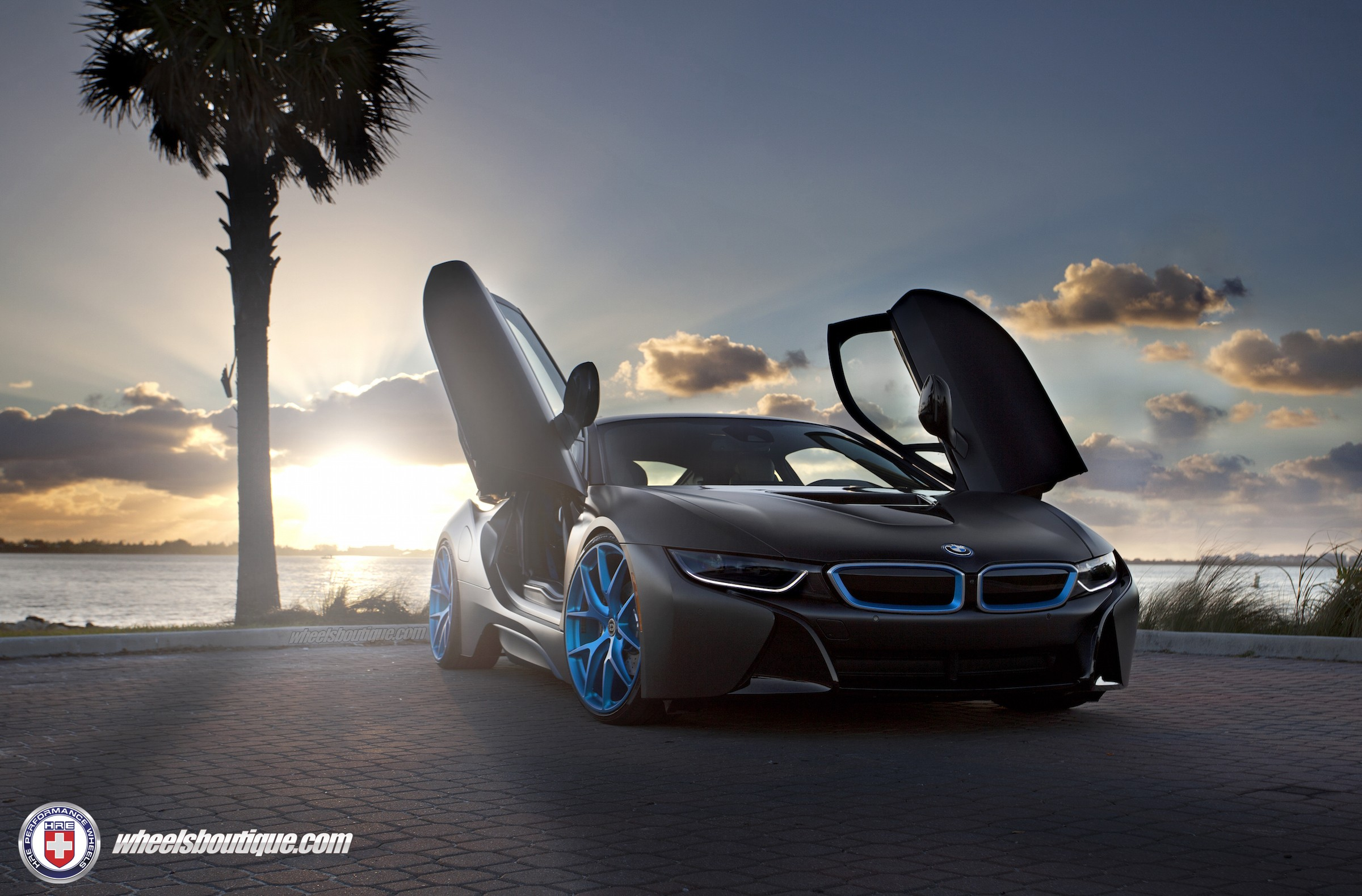 Wonderful ... Matte Black Bmw I8 On Frozen Blue HRE P101 Wheels ... Awesome Ideas