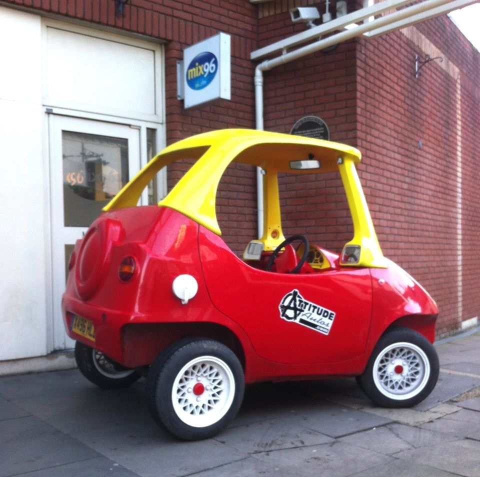 British company builds adult sized little tikes cozy coupe for Little tikes motorized vehicles