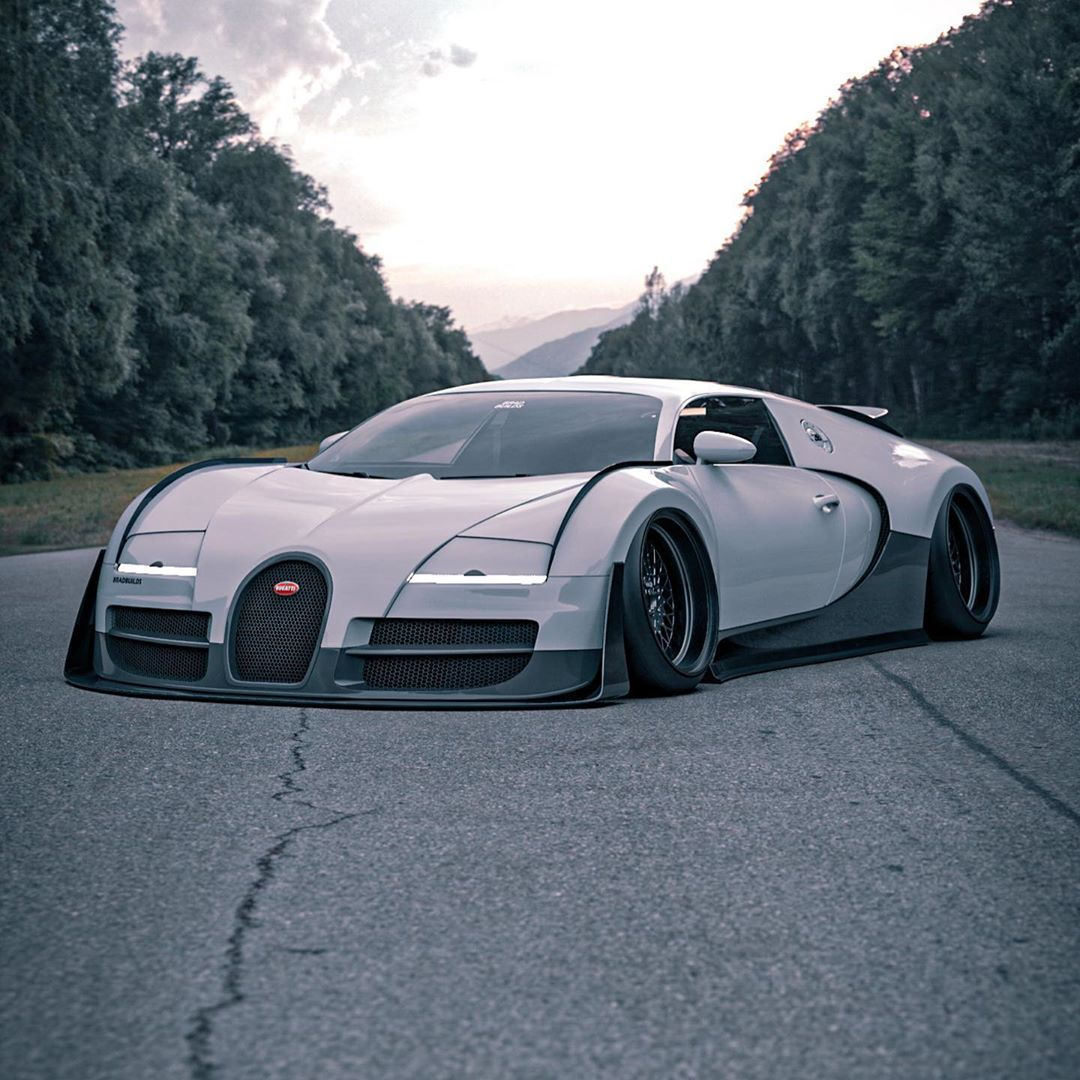 "Bugatti Chiron Grand Sport Roadster Rendering Looks Cool: Bugatti Veyron ""Veyround"" Has Widebody Cyberpunk JDM"
