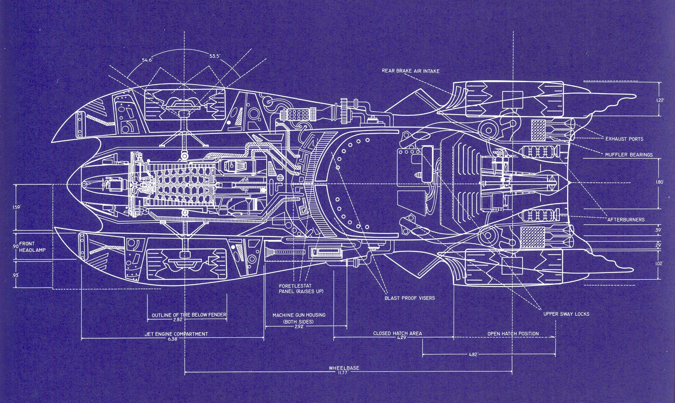 Build your own 1989 batmobile using these blueprints autoevolution blueprints 1989 batmobile blueprints malvernweather Choice Image