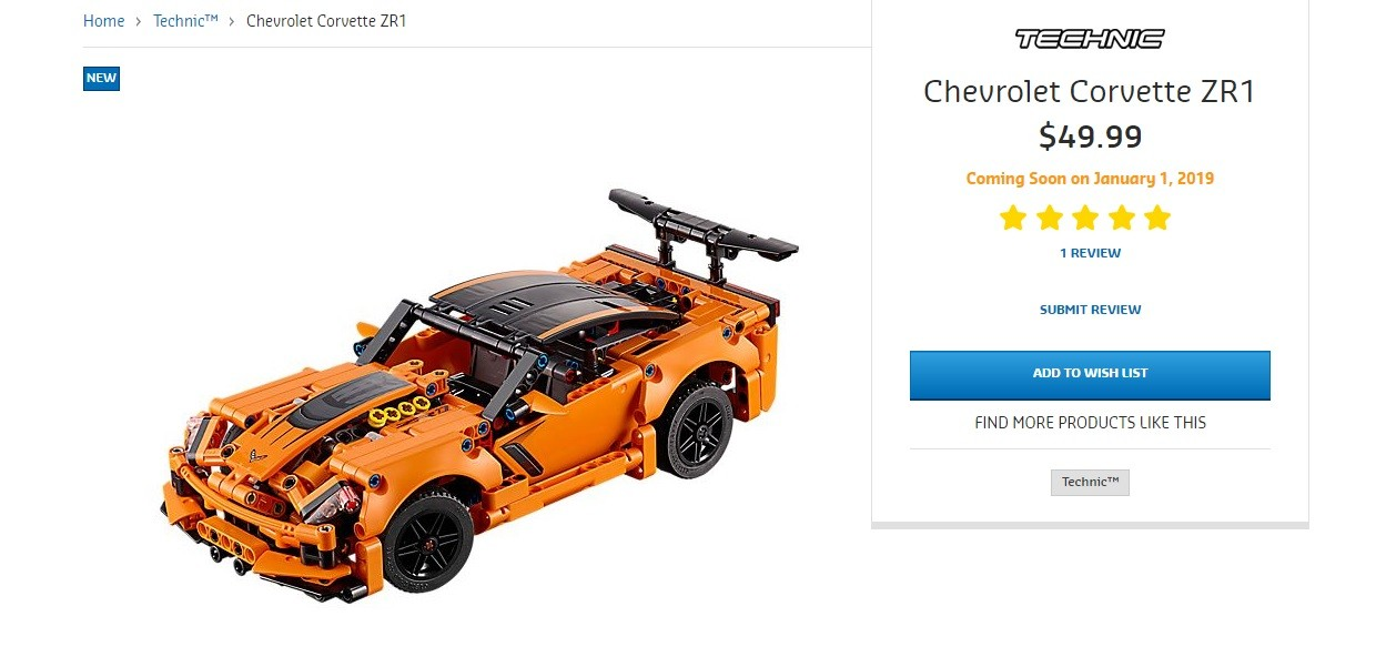 c7 zr1 gets the lego technic treatment priced at 50. Black Bedroom Furniture Sets. Home Design Ideas