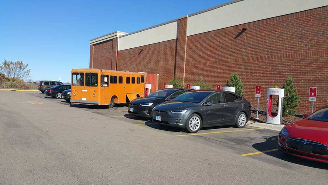 WestCoaster electric bus using the Supercharger network