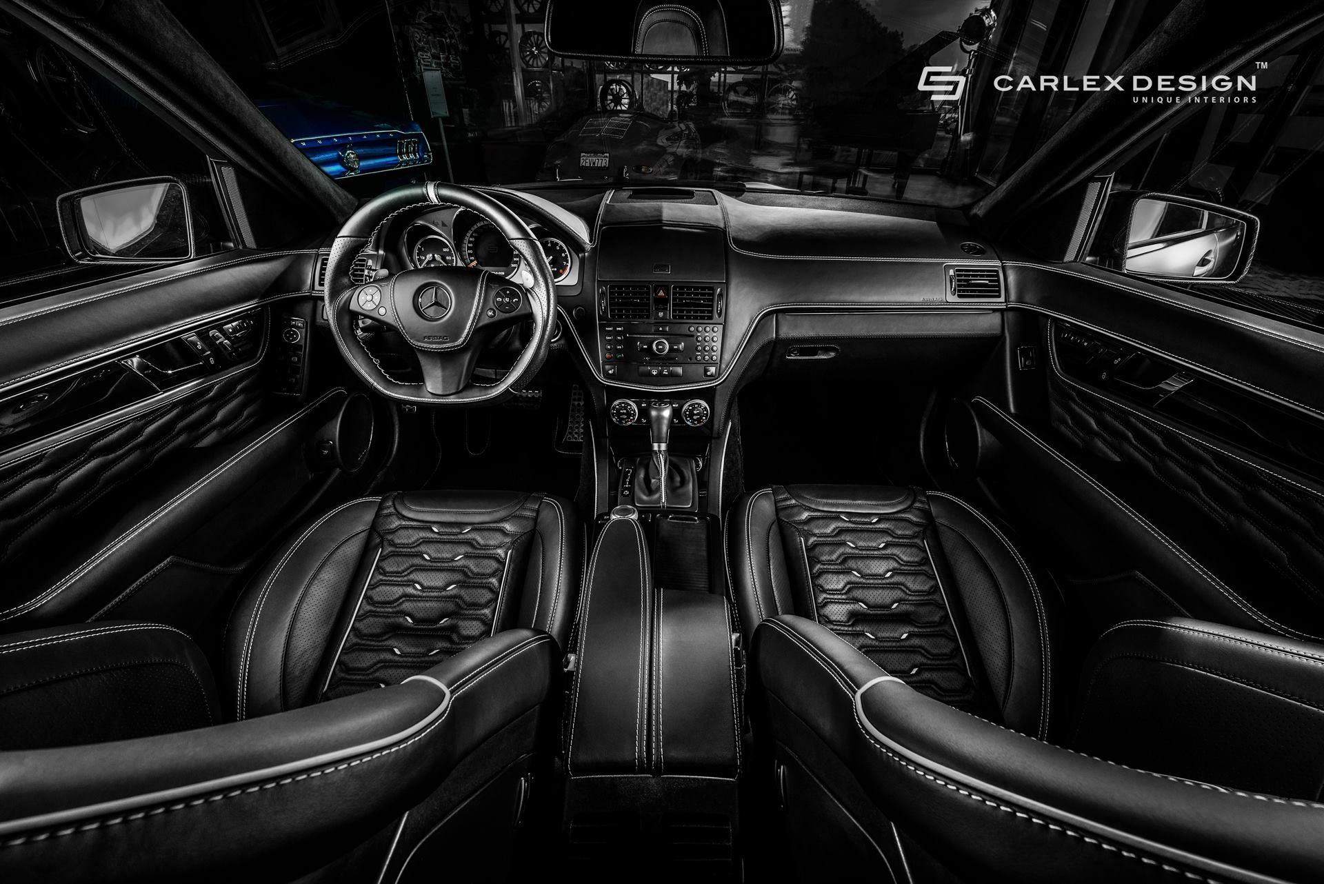 Mercedes amg c63 gets tuned by carlex shows w204 for Interieur auto tuning