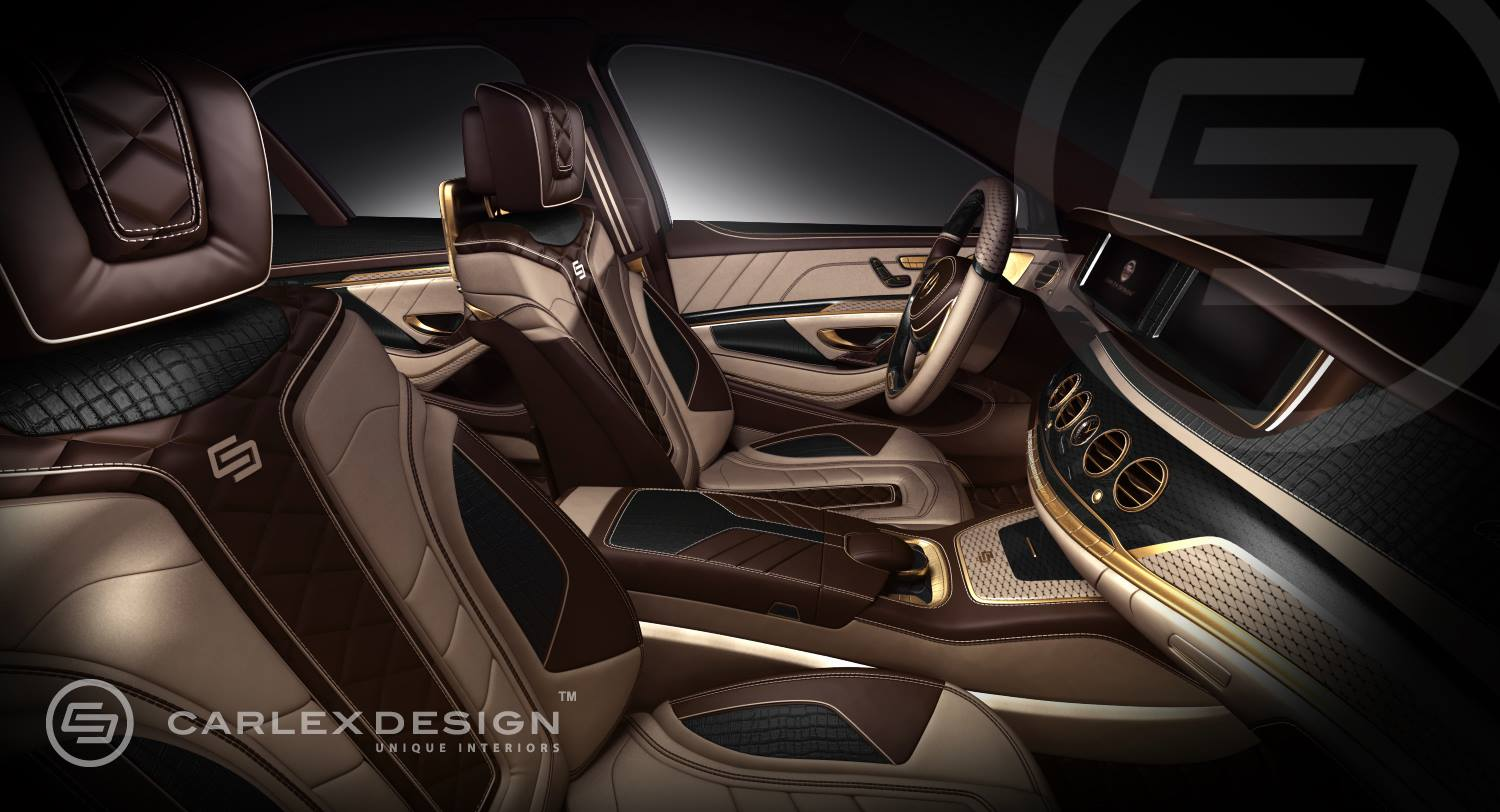 Carlex mercedes s class interior 24k gold and crocodile for Interieur tuning auto