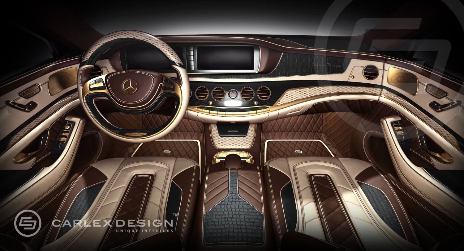 Carlex mercedes s class interior 24k gold and crocodile leather autoevolution