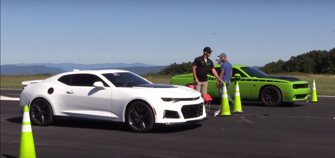 Challenger Hellcat Vs Camaro Zl1 Drag Race Leads 1 2 Mile