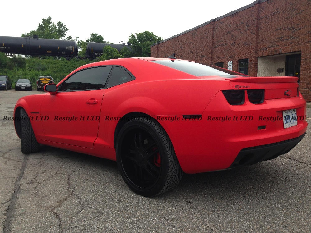 Chevrolet Camaro Gets Matte Red Wrap From Restyle It
