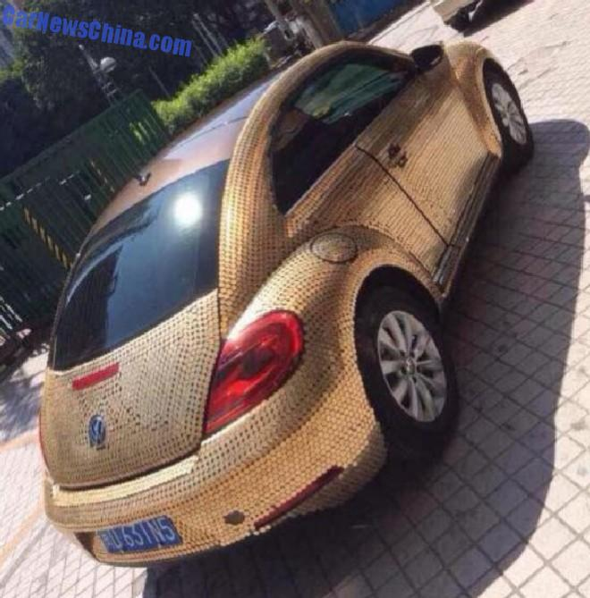 """China: Volkswagen Beetle Covered in Coins Is so """"Money"""" - autoevolution"""