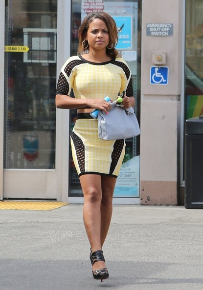 Christina Milian Drives A G Wagon Stops To Pump Air In