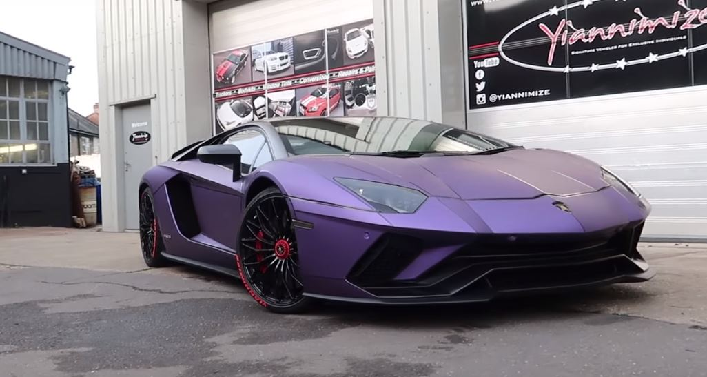 Chrome Red Lamborghini Aventador S Turns Matte Purple In Amazing