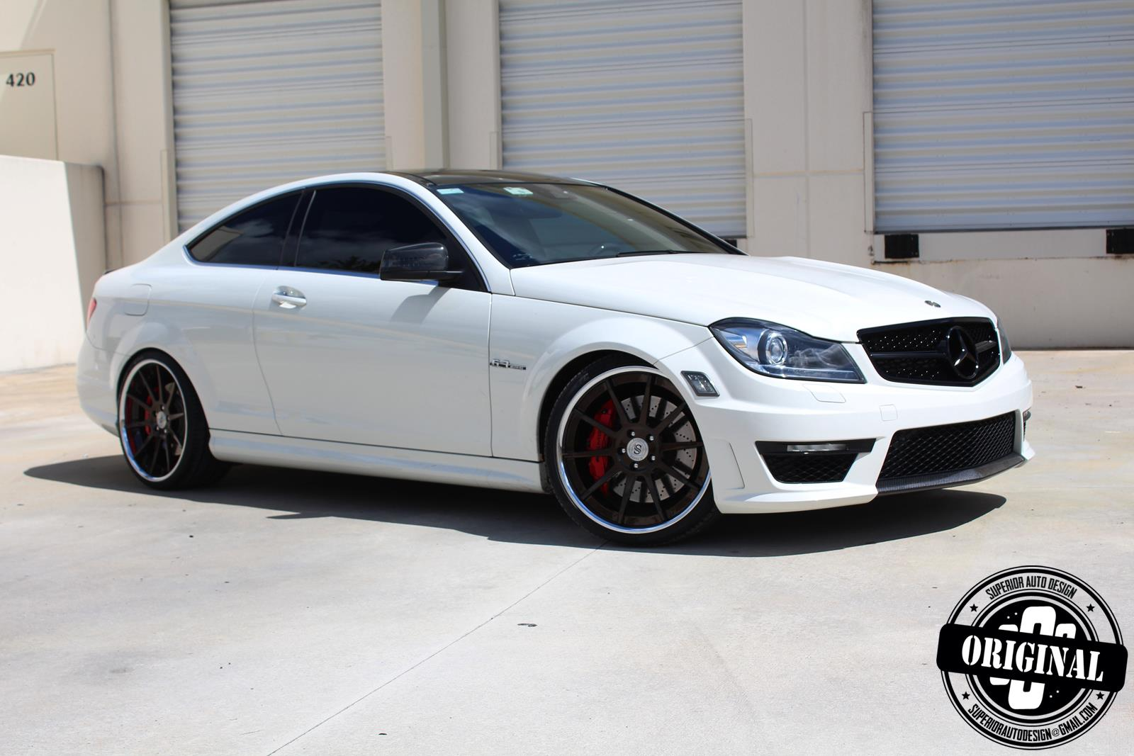 Cocaine white c63 amg coupe with forged strasse wheels for White rims for mercedes benz