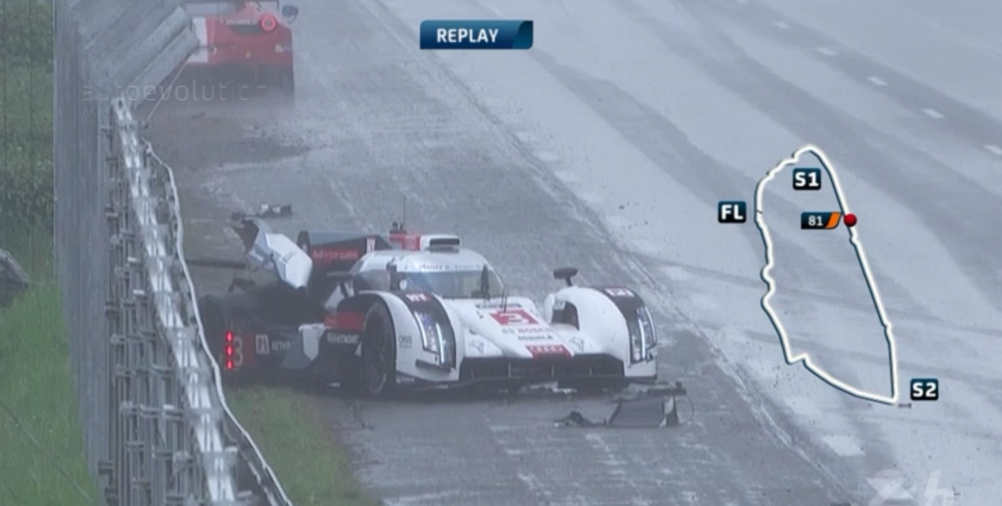Crash Involving Audi Ferrari And Toyota At The Le Mans 24