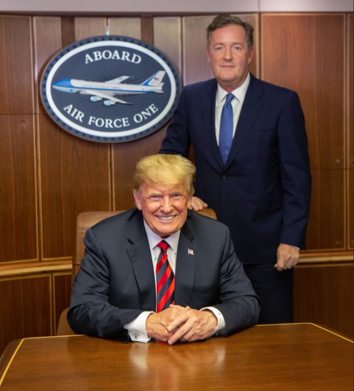 Donald Trump takes Piers Morgan on a tour on Air Force One which includes customized M&Ms