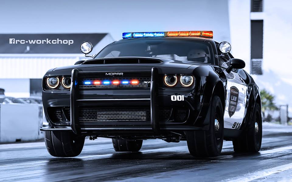dodge demon police car rendering is here to serve and to drag race autoevolution. Black Bedroom Furniture Sets. Home Design Ideas