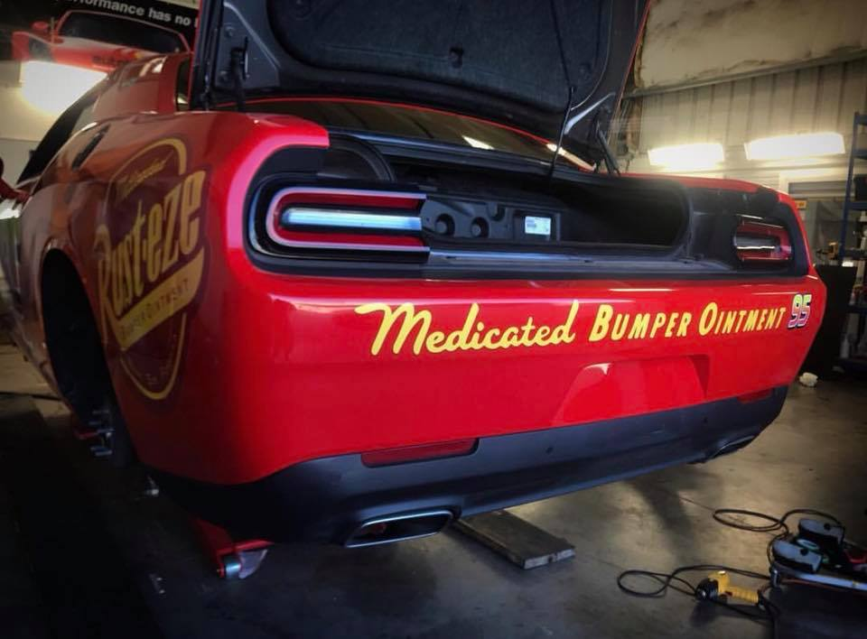 Dodge Challenger Gets Lightning Mcqueen Wrap For Muscle