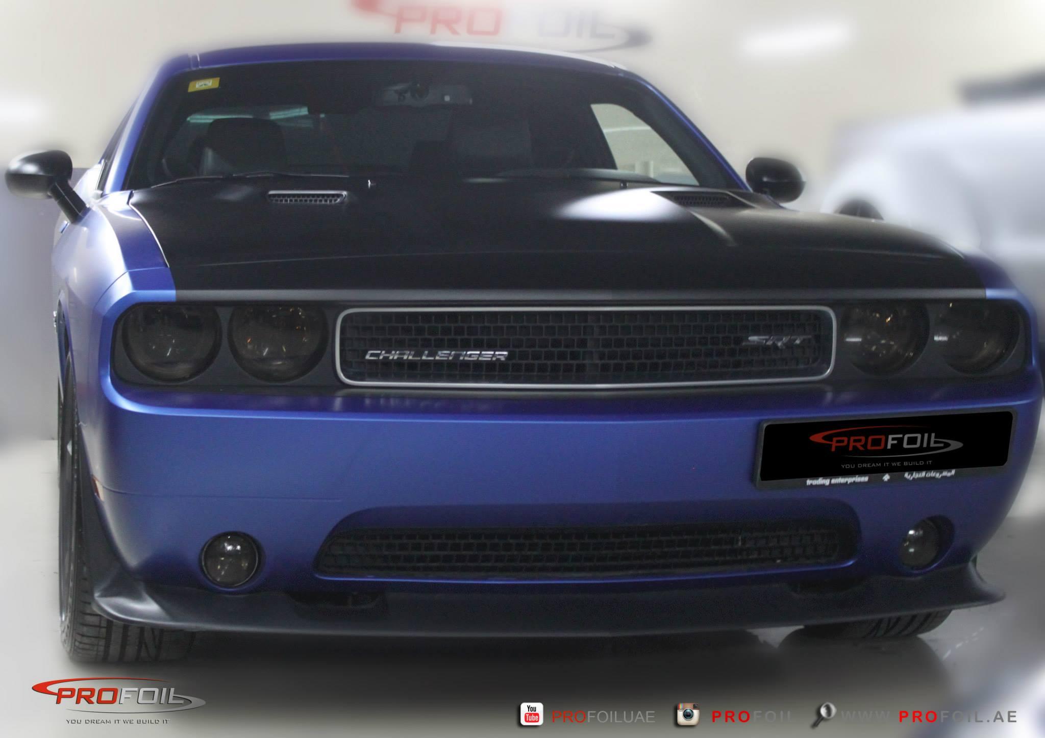 Dodge Challenger Gets Matt Blue Wrap From Profoil