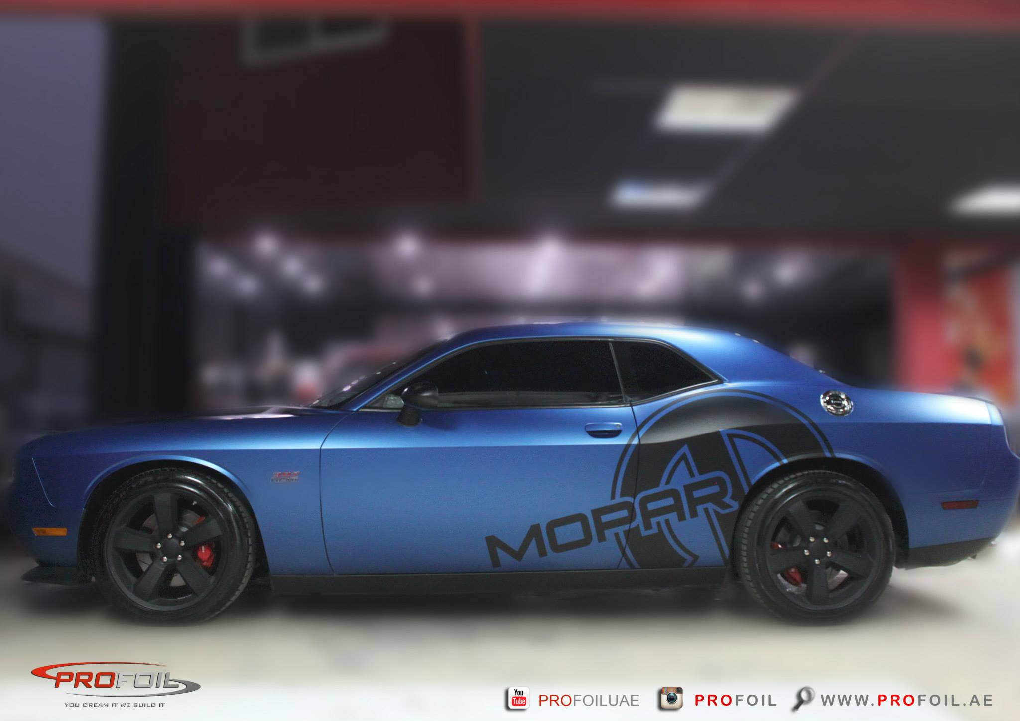 Dodge Challenger Gets Matt Blue Wrap From Profoil