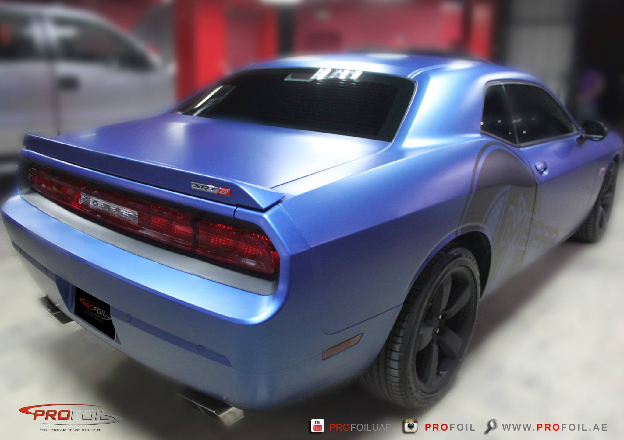 Dodge Challenger Srt Gets Matt Blue Wrap From Profoil