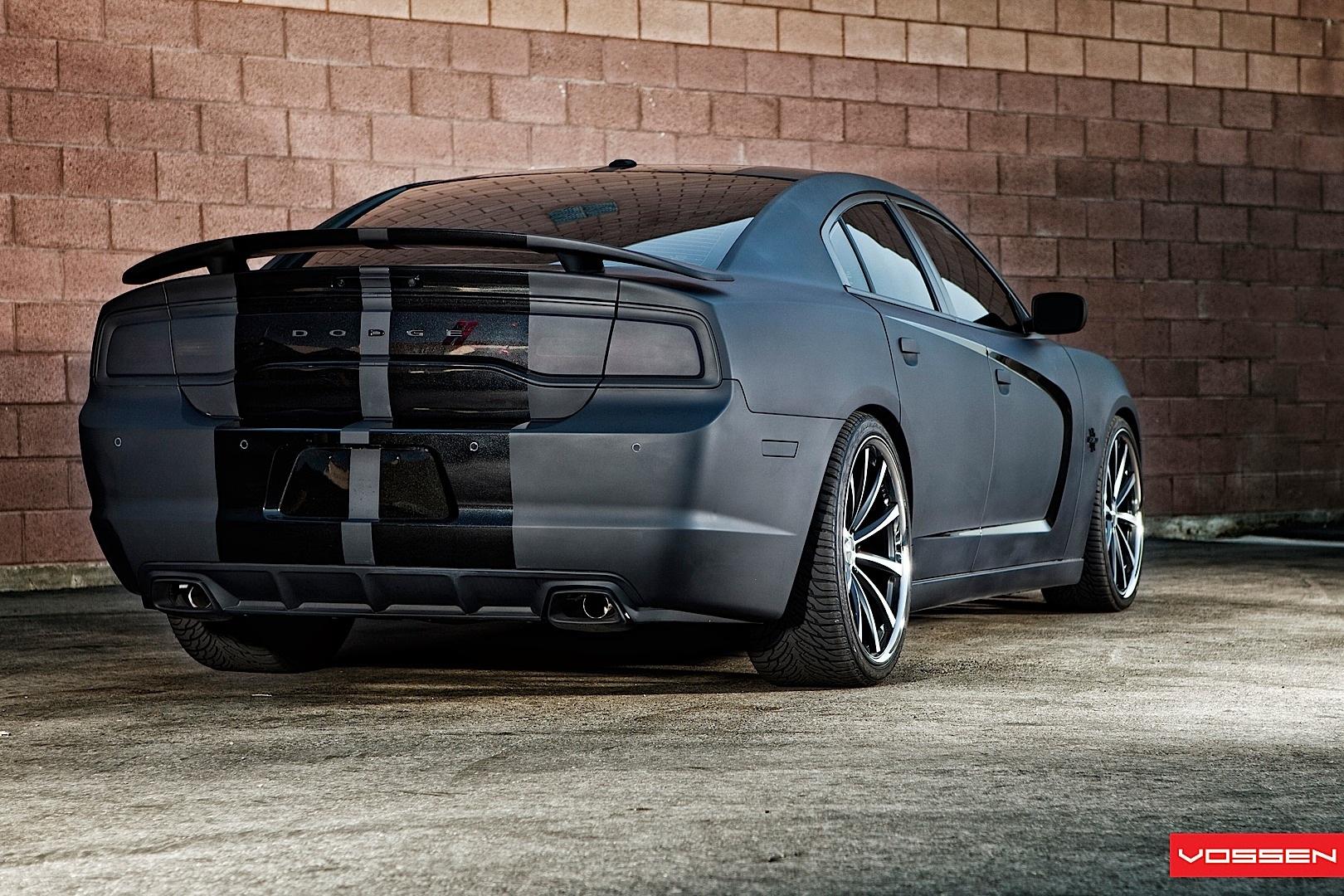 dodge charger gets matte black wrap and vossen wheels autoevolution - 2013 Dodge Charger Black Rims