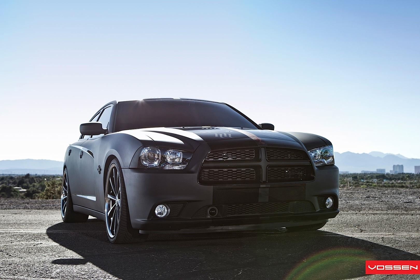Dodge Charger Gets Matte Black Wrap And Vossen Wheels